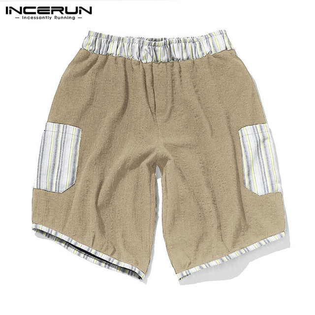 6607d67414 Vintage Summer 100%Cotton Men Shorts Knee-Length Pockets Patchwork Loose  Fitness Boardshorts Bermuda Shorts Gyms Joggers 5XL