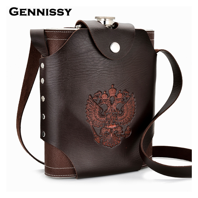 GENNISSY 48oz Leather Covered Hip Flask With Leather Holster Russian National Emblem Printed Stainsteel Hip Flasks For Alcohol