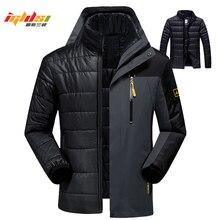 ฤดูหนาวลงเสื้อแจ็คเก็ตผู้ชายแฟชั่น 2 in 1 Outwear Thicken Warm Parka Patchwork กันน้ำ Hood เสื้อขนาด l 5XL 6XL