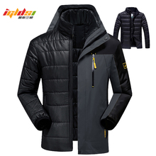 Winter Down Jacket Coats Men Fashion 2 in 1 Outwear Thicken Warm Down Parka Patchwork Waterproof Hood Men Jacket Size L 5XL 6XL