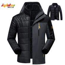 Winter Unten Jacke Mäntel Männer Mode 2 in 1 Outwear Verdicken Warme Daunen Parka Patchwork Wasserdichte Kapuze Männer Jacke Größe l 5XL 6XL