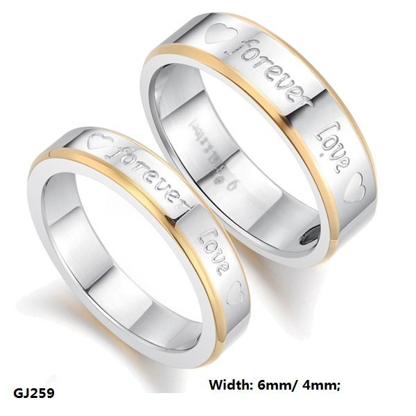 "Fashion Jewelry Stainless Titanium Steel Rings Silver Golden Hearts ""Forever Love"" Couple Rings Wedding Engagement Rings GJ259"