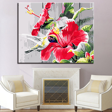 Hummingbirds And Flowers Picture By Numbers DIY Animal Painting Kits Hand paited On Linen Canvas Home Decorative Unique Gift