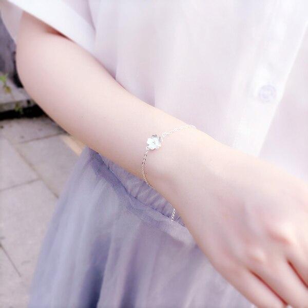 AKOLION Silver Cherry Blossoms Bracelets Charm Flower Bracelets 925 Sterling Jewelry For Girl Women 13