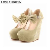 New Women Nubuck Leather Platform Pump Shoes Red Black Wedges Bow Shoes Women Spring Sweet High Heel Pumps NLK B0098