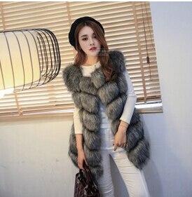 Новое поступление, зимний теплый модный длинный женский жилет из искусственного меха, пальто из искусственного меха, жилет из лисьего меха, женский жилет, большие размеры, S-4XL - Цвет: grey