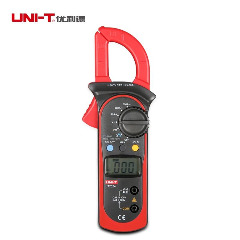 AC 600A Clamp Meter Digital UNI T UT202A AC DC 600V Voltmeter 2000 Counts Manual Range Resistance Diode Tester Data hold/MAX/MIN kyoritsu 2017 digital ac clamp meter max ac600a