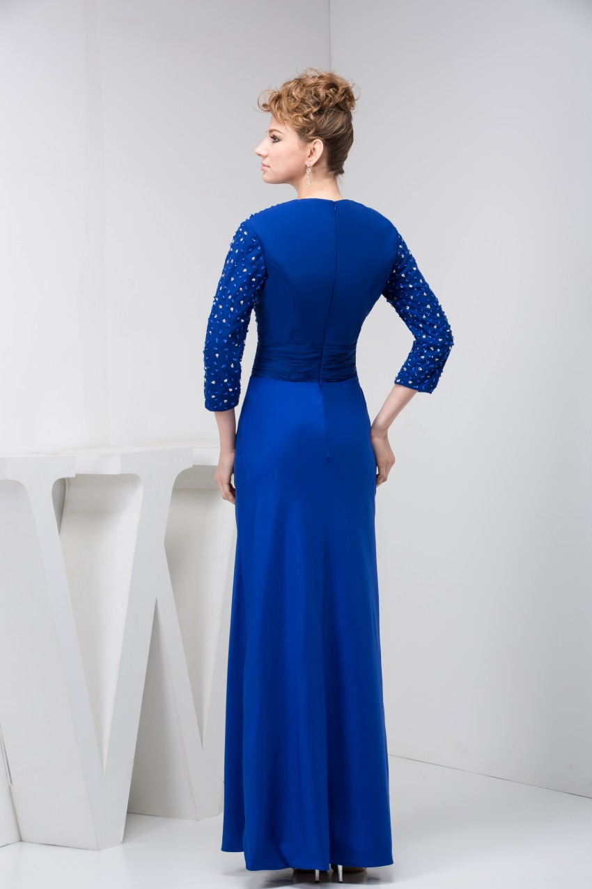 Elegant Blue Mother of the Bride Dresses 2017 New Three Quarters Sleeves Formal Wedding Guest Evening Gowns 5