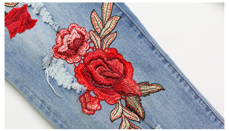 2017 Europe and the United States new women stretch loose jeans women trousers color flowers 3D stereo embroidery holes jeans (15)