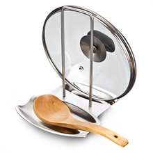 Stainless Steel Pan Pot Rack Cover Lid Rest Stand Spoon Holder