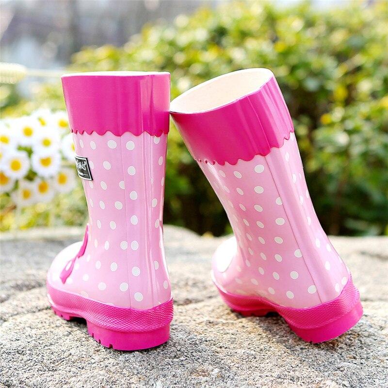 Детская резиновая обувь для девочек; непромокаемые сапоги с рисунком розового кролика; детская обувь для девочек; модные Нескользящие водонепроницаемые ботинки - 3