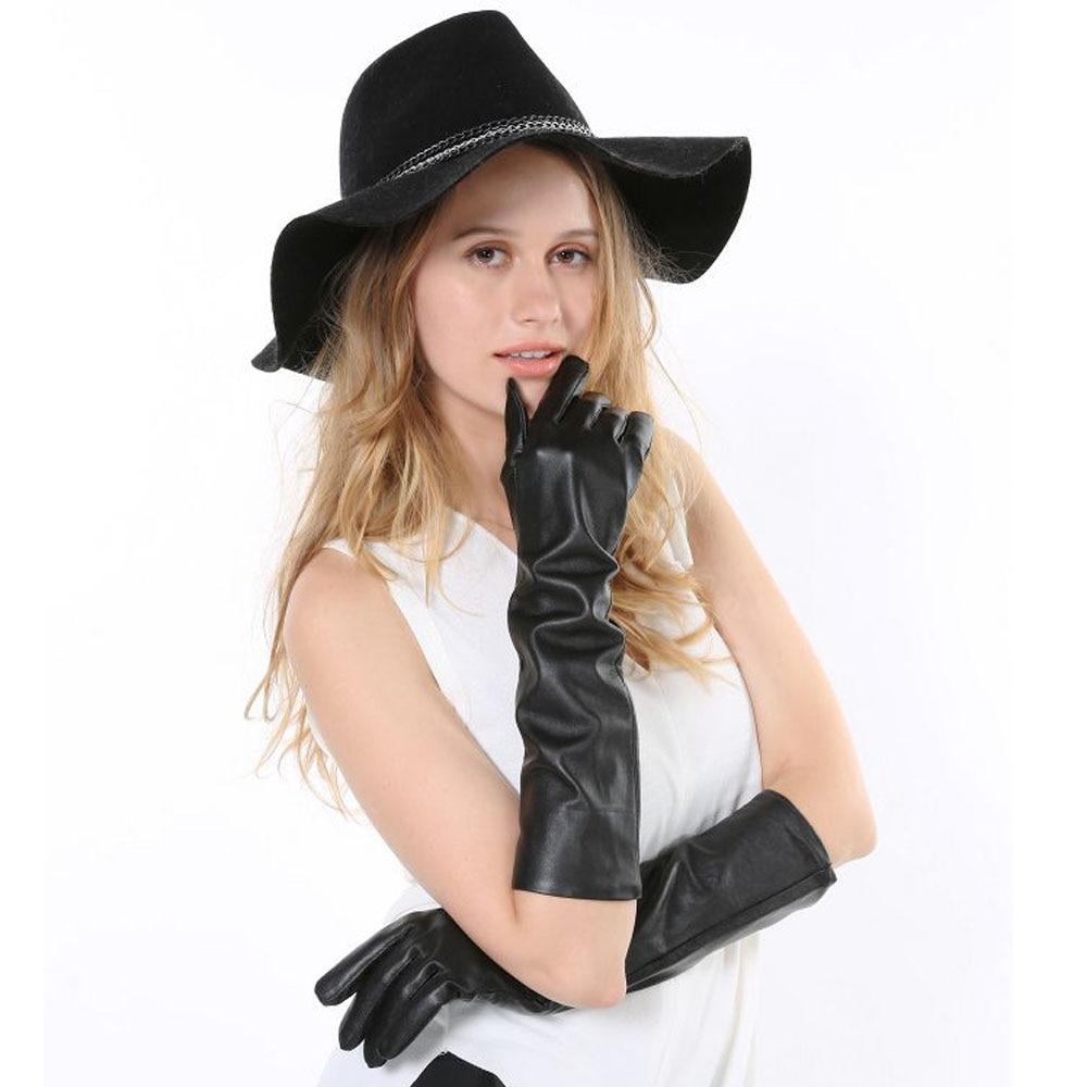 Womens leather gloves toronto - 42cm Women Long Genuine Leather Gloves Ultra Long Faux Leather Long Design Fashion Gloves Black