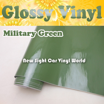 Military Green Glossy Vinyl Wrap Army Green Gloss Self Adhesive Vinyl Film Air Free Car Decals Car Graphics Size:1.52*30m/Roll