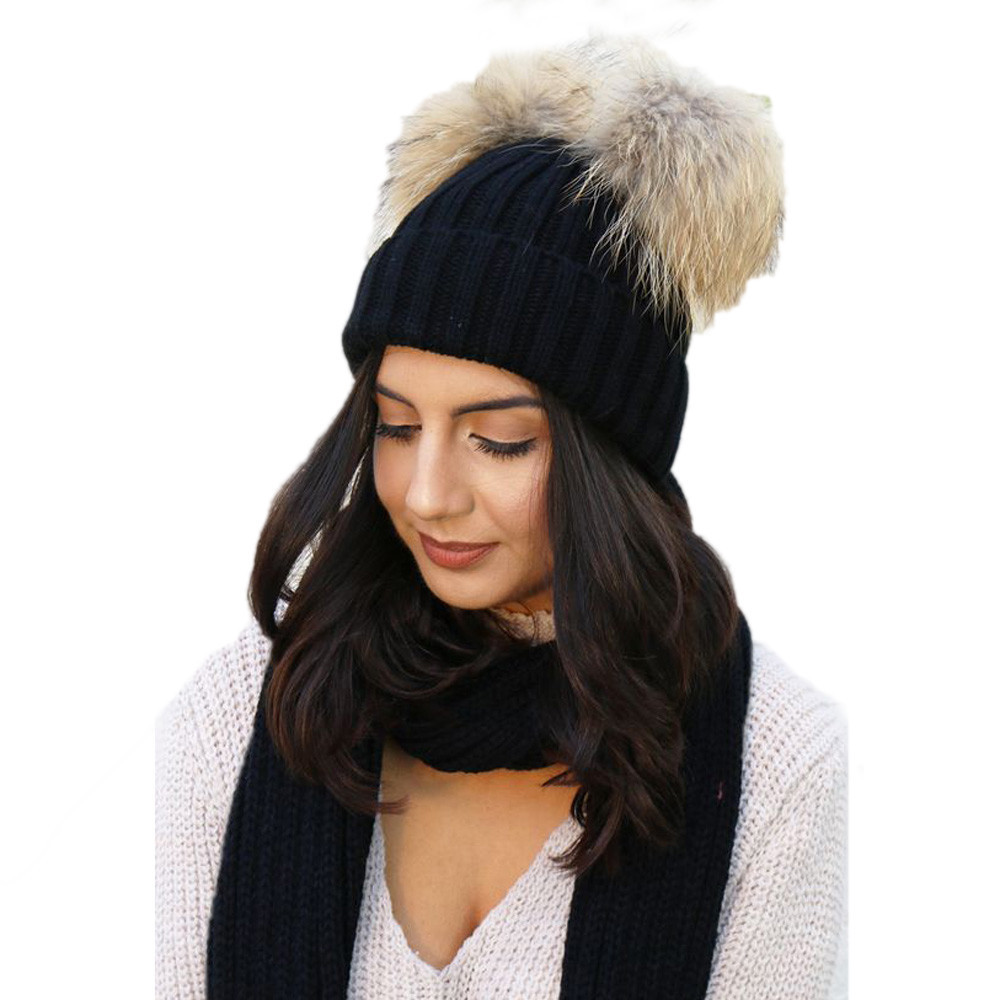 New Style Winter Warm Knitted Cotton Casual Fur Double Pompon Hat Female Winter Braid Cap Headgear For Women Skullies Beanies