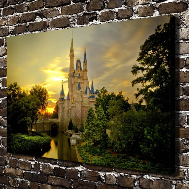 H2054 Castle Sunset River Tree Scenery .HD Canvas Print Home Decoration  Living Room Bedroom Wall