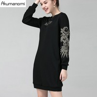 Winter Thicken Dress Letter Flowers Embroidery Three Dimensional Sequins Beading Women S Clothes Autumn Spring Dress