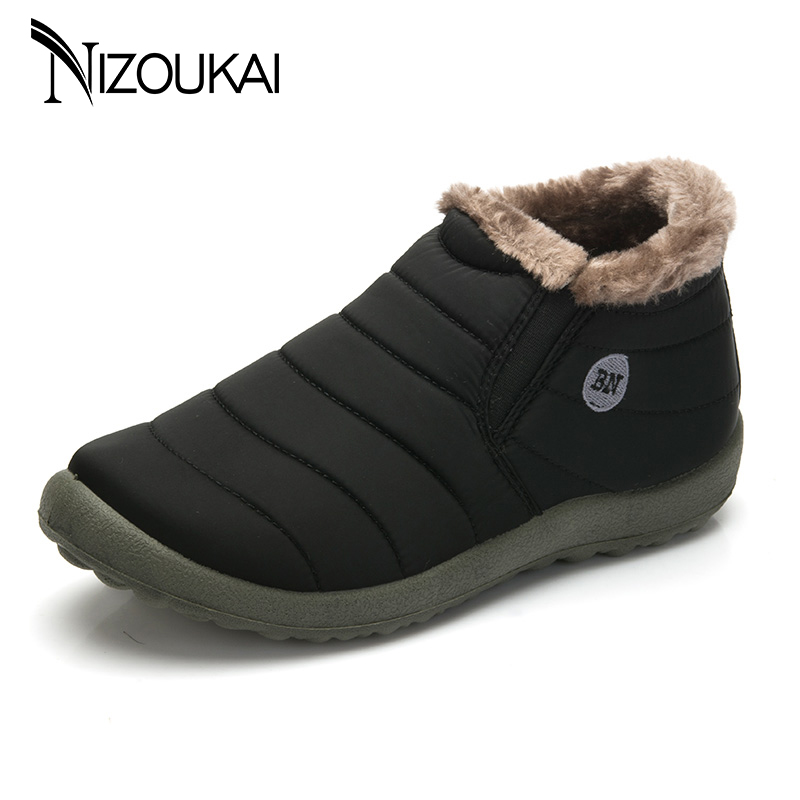 Men Winter Shoes snow boots for men waterproof Warming Fabric Slip-on Ankle Boots for Male Winter Outdoor Shoes Plus Size 35-48