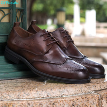 Handmade Brogue Men Flat Genuine Leather Men Oxfords High Quality Lace-Up Business Men Shoes Vintage Men Dress Shoes dxkzmcm handmade men flat leather men oxfords lace up business men shoes men dress shoes