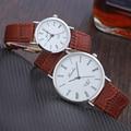 2017 Brand Couple Watches High Quality Leather Quartz Watch Men Fashion Wristwatch Women Casual Clock Reloj Hodinky Montre Homme