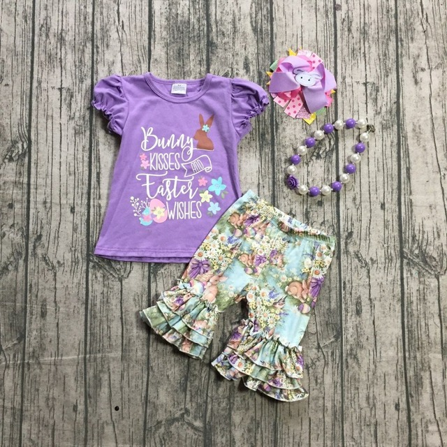 """Easter theme """"Bunny kisses and Easter wishes"""" lavender bunny top flower bunny Capri girls boutique Capri set with accessories"""