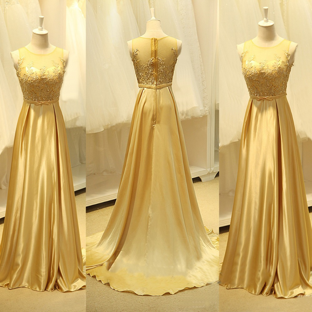 Elegant Gold Silk Chiffon Long Evening Dresses Sweep Train Sheer Top