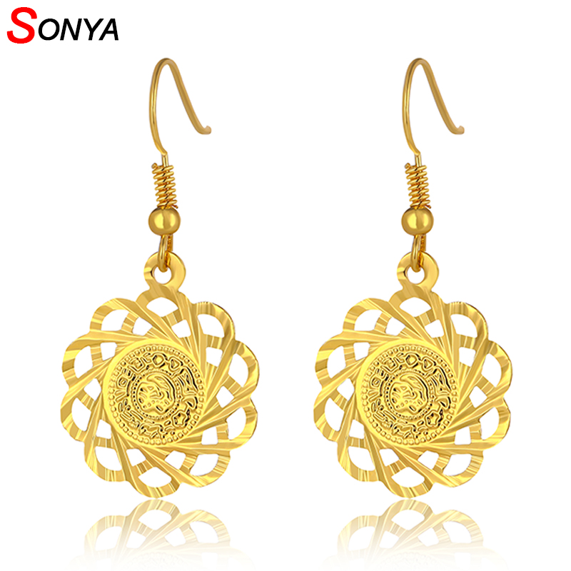 Sonya Trendy Ethnic Copper Coin Earring Drop Dangle Earrings Gold