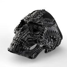 Gótico negro de acero inoxidable de Terror calavera alienígena anillos para los hombres Punk Rock de Tamaño 7-13