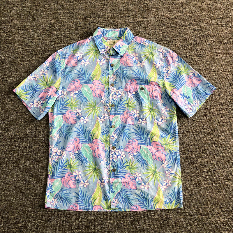 Men Shirt 100% Cotton Beach Hawaii Floral Print Short Sleeve Big Size