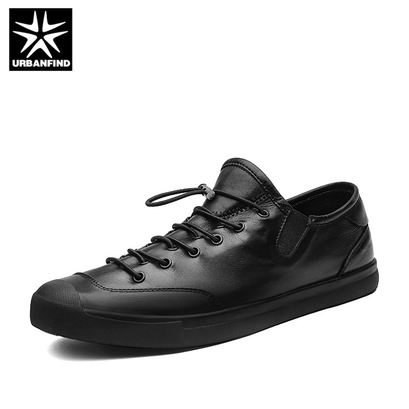 URBANFIND Black Casual Men Shoes Genuine Leather Sneakers Size 38-44 Fashion Man Elastic Band Flats Comfort Designer Footwear urbanfind genuine leather men shoes black white footwear plus size 39 47 high quality man lace up casual flats 45 46 47