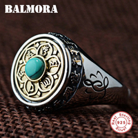 BALMORA 100% Real 925 Sterling Silver Buddhistic Six Word's Sutra Rotated Rings for Women Men Gift Religious Jewelry SY22224
