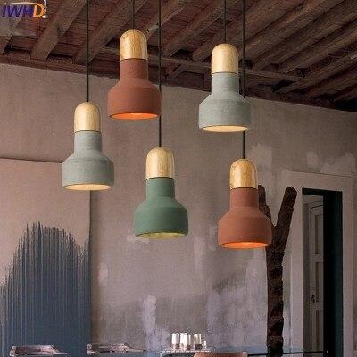 IWHD Cement Loft Style Vintage Pendant Lamp Industrial Retro Kitchen Light Fixtures Wood Pendant Lights For restaurant Lamparas
