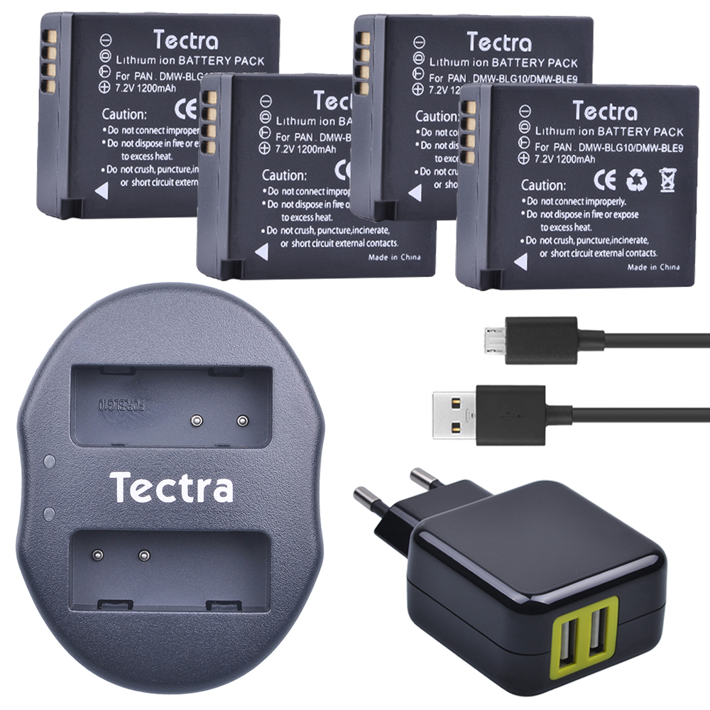 Tectra 4Pcs DMW-BLG10 DMW-BLE9 BP-DC15 Bateria + USB Dual Charger with AC Adaptor for Panasonic LUMIX GF5 GF6 GX7 LX100 GX80 tectra 4pcs dmw blg10 dmw ble9 bp dc15 bateria usb dual charger with ac adaptor for panasonic lumix gf5 gf6 gx7 lx100 gx80