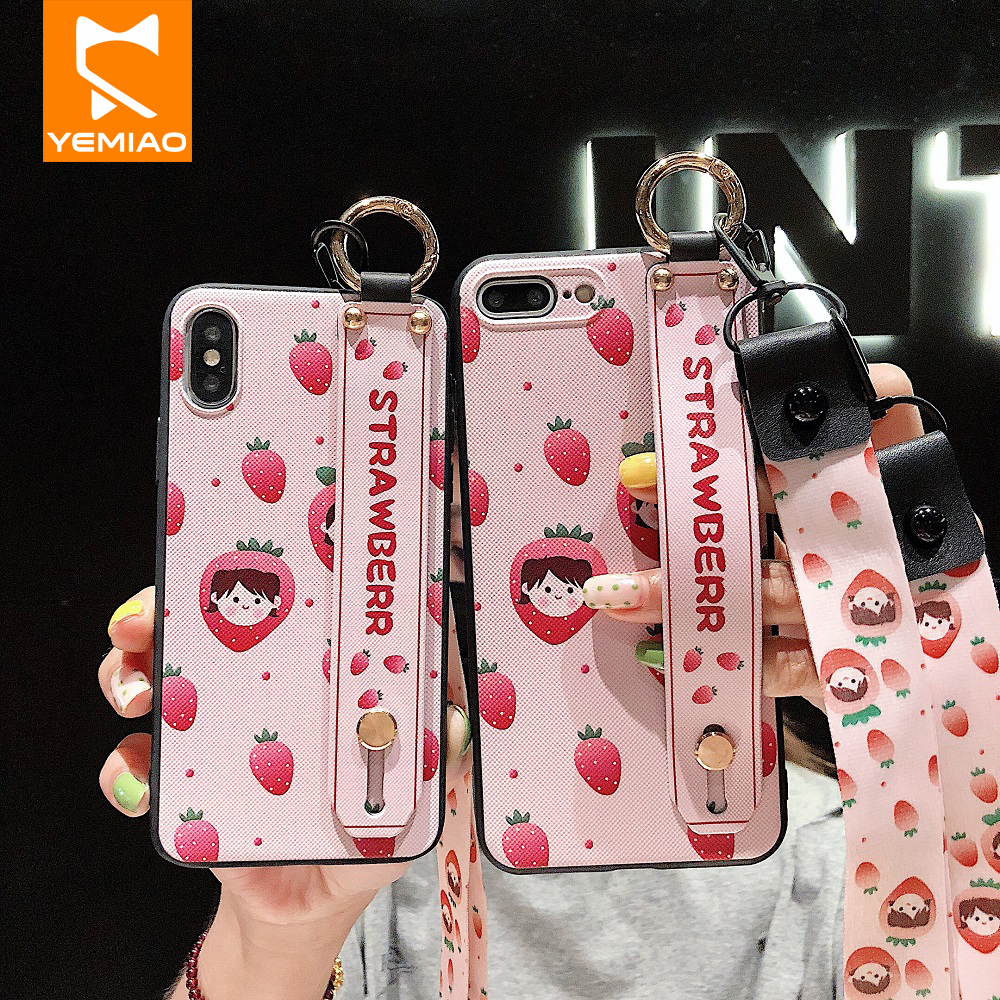 <font><b>Belt</b></font> Holder Phone Case For <font><b>iPhone</b></font> <font><b>X</b></font> <font><b>XS</b></font> Max 10 7 8 Plus Cute Patterned Silicone Cover For <font><b>iPhone</b></font> 6 6S Plus XR 6 S Case With Strip image