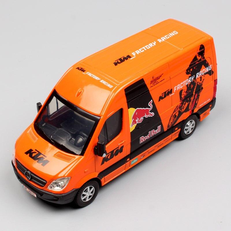 1:38 Scale Red Bull KTM Factory Racing Team Classic SPRINTER MOTOCROSS Minibus Van Diecast Metal Models Pull Back Truck Cars Toy