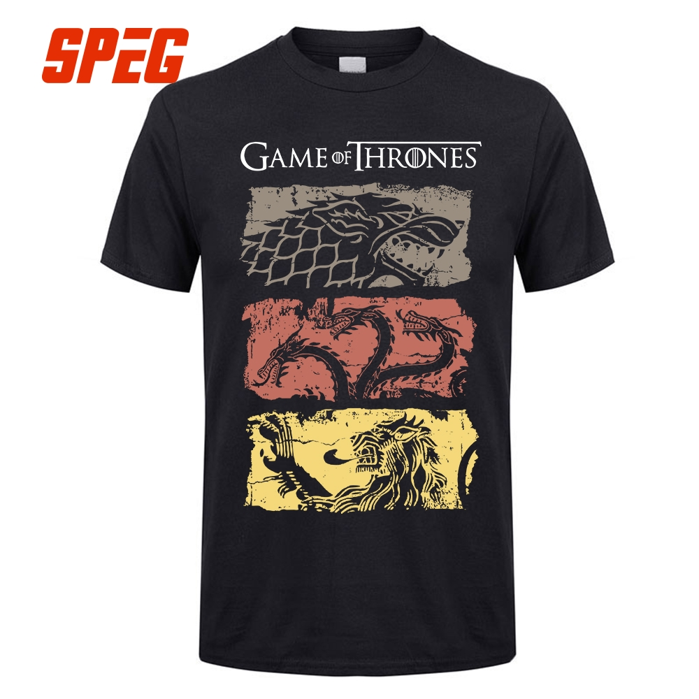 Game Of Thrones Vintage   T     Shirt   Fan Movie House Stark Tee Targaryen Tee   Shirt   Lannister 100% Cotton   T  -  Shirt   Men Plus Size 4XL