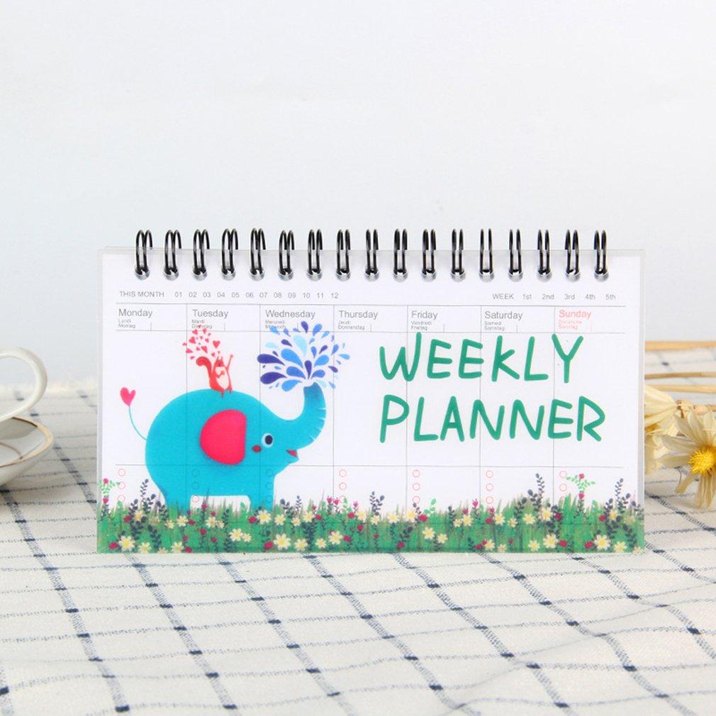 Korean Stationery Notebook Cartoon Animals Can Tear Week Plan Schedule Book Student Portable Coil Flip Book