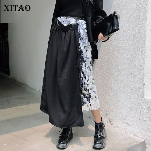 [XITAO] 2019 New Europe Casual Loose Asymmetrical Sequined Skirt Patchwork Button Elastic Waist Ankle-length Skirt ZQ1546