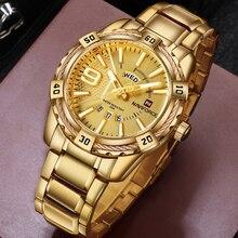 NAVIFORCE luksusowej marki mężczyzna sporta zegarek złoty pełna stal kwarcowy zegarki mężczyźni data wodoodporny zegarek wojskowy człowiek relogio masculino