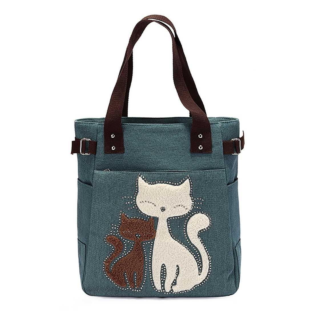 Женская сумка Холщовая Сумка с милым котом маленькая сумка для покупок