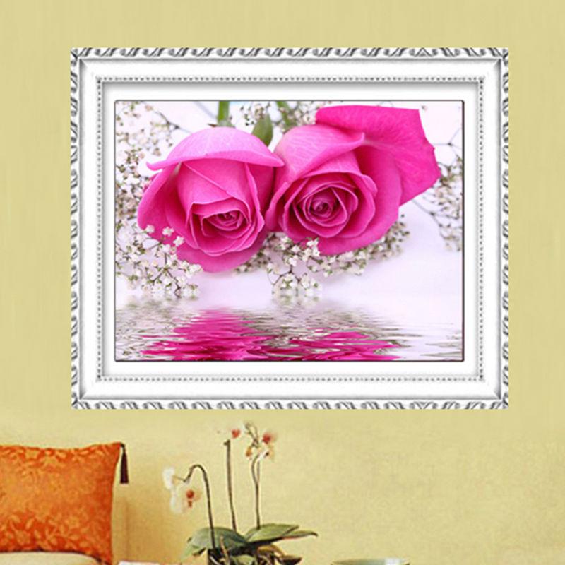 Vyšívání DIY Diamantové malování Růžová růžová Krásné květiny Diamantové výšivky Svatební pokoj Vyzdobte Rýnské kameny Mozaika Obrázek