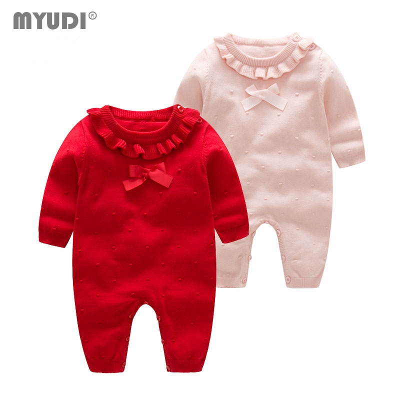 Myudi -Newborn Baby Girl Sweater Sweet Cotton Knitted Lotus one piece Clothing Children's Warm Bow-tie Romper Toddler Wear 0-2Y