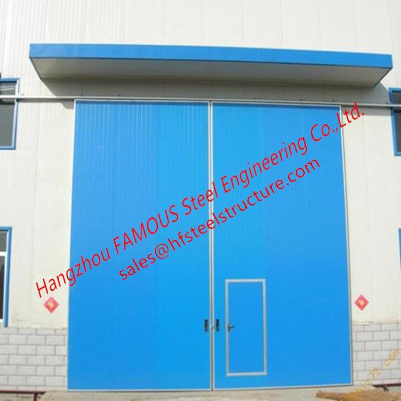 PU Foaming Industrial Automatic Handle Garage Door EPS Sandwich Panel Sliding Door For Workshop
