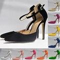 Lovely Ladies Punta estrecha Bombas de Terciopelo de los Altos Talones Stilettos de Plataforma Zapatos de Las Mujeres Negro Bombas 302-3VE