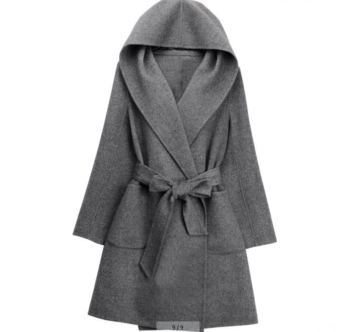 Mode Manteaux gris Automne De Noir Survêtement camel Hiver Femme Dames Pardessus Ceinture Femmes Lâche Laine À 2018 Cachemire Occasionnel Capuchon Mélange Manteau wI7Rq4