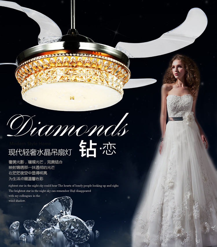 Fumat Led Ceiling Fans Crystal Light Dining Room Living: Import Crystal LED Fan Light 42inch European Living Room