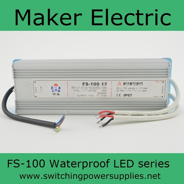 high efficiency Waterproof outdoor Single Output Switching power supply for LED Strip light ac to dc FS-100-15 6.7A блок питания ibm 550w high efficiency platinum ac power supply 00fm023