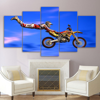 Wall Art Canvas Paintings Home Decor Living Room Frame 5 Pieces Motocross Limit Jumps Group Poster