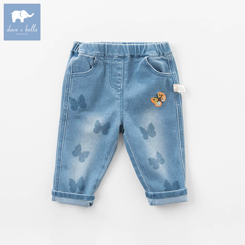 DBZ6973 dave bella spring baby girls fashion butterfly print denim blue jean kids pants children boutique trousers tangnest stylish distressed women jeans 2017 new fashion brand ripped jean pants capris casual wear denim trousers wkn478