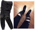 2017 moda hip hop calças dos homens design com zíper homem da motocicleta magras corredores sweatpants casuais pretas calças pant casuais