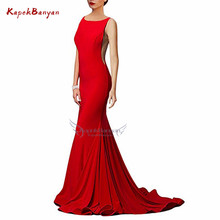 цена на Simple Satin Mermaid Evening Dress Scoop Neck Backless Zipper Sleeveless Sweep Train Evening Gowns for Women